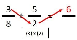dividir fracciones en cruz