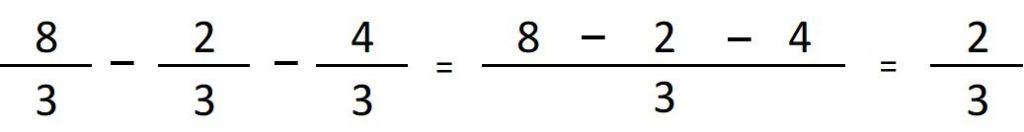 ejemplo de resta de fracciones