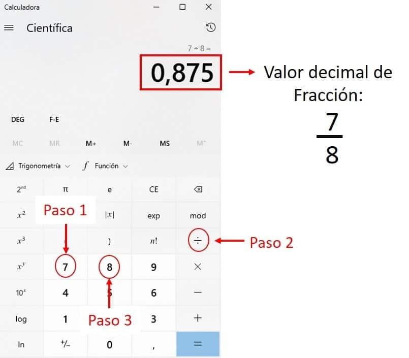 Convertir Fracciones en Decimales con Calculadora