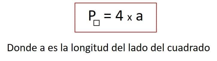 formula para calcular el perimetro de un cuadrado