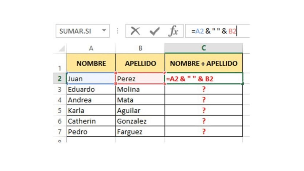 Cómo Concatenar en Excel